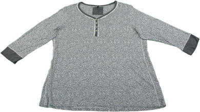 Kensie Womens Size X-Large 3/4 Sleeve Pajama Top, Grey/White