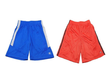(2-Pack) Champion Boys Size 10/12 Athletic Mesh Shorts, Blue/Red