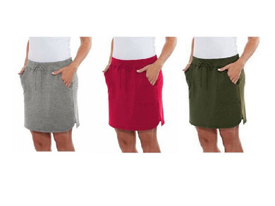 (3-Pack) Balance Collection Women's Size X-Large Weekend Skirt, Multi-Color