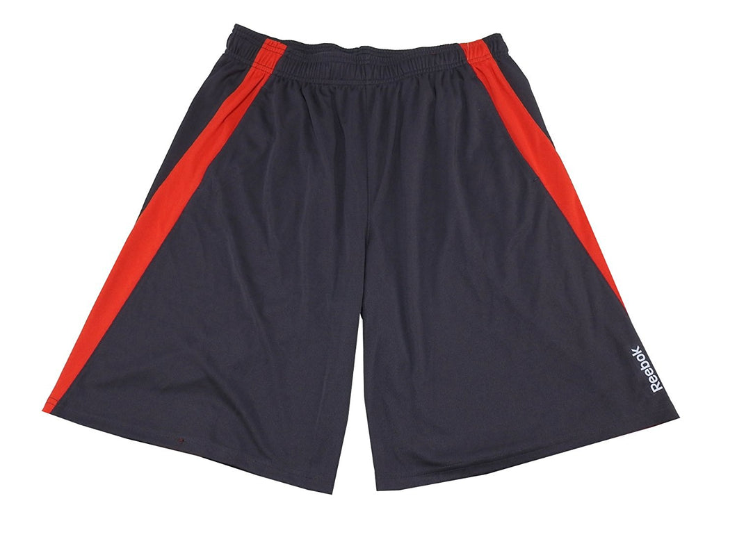 Reebok Sport Mens Large Drawcord w/Reflective Logo Active Short, Grey/Red