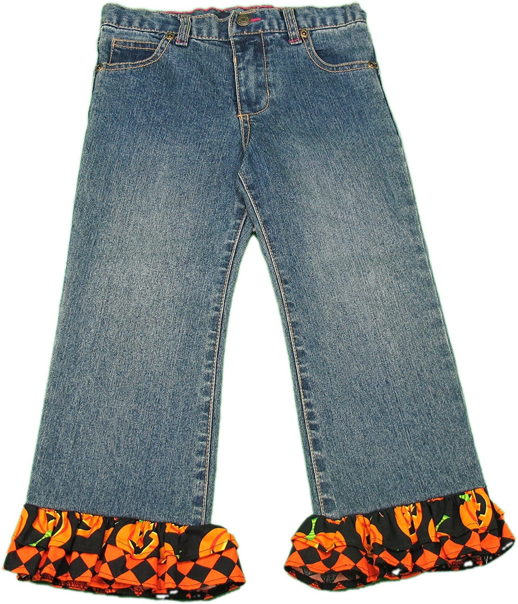 Faded Glory Girls Size 4T Halloween Decorated Jeans, Blue/Multi