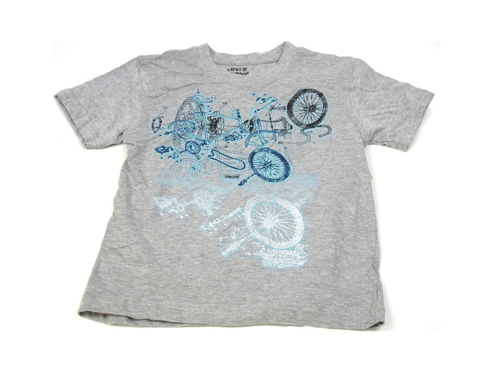 Levi's Boys Size 7 Anatomy of a Bicycle S/S Graphic Tee, Gray/Blue