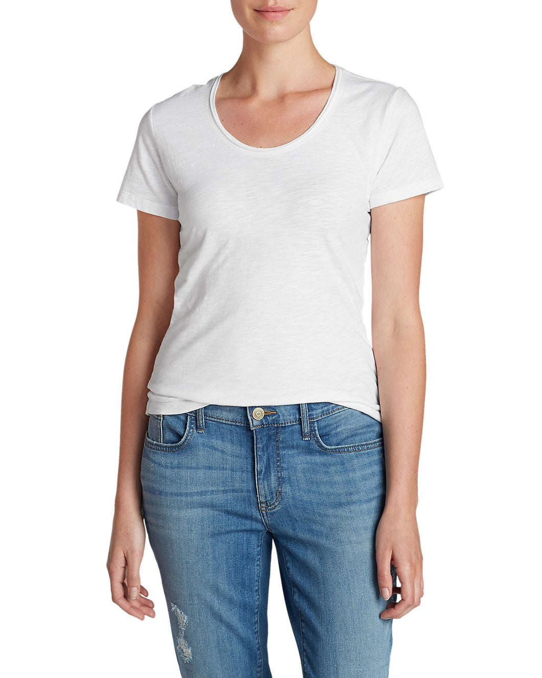 Eddie Bauer Womens Size 3X-Large Short Sleeve Scoop Neck Tee Shirt, White
