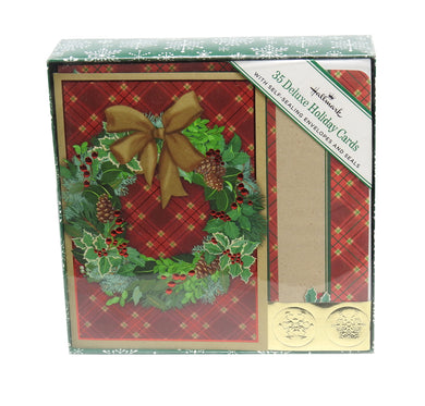 Hallmark Deluxe Wreath Holiday Cards 35 w/Self-Sealing Envelopes, Green/Gold/Red
