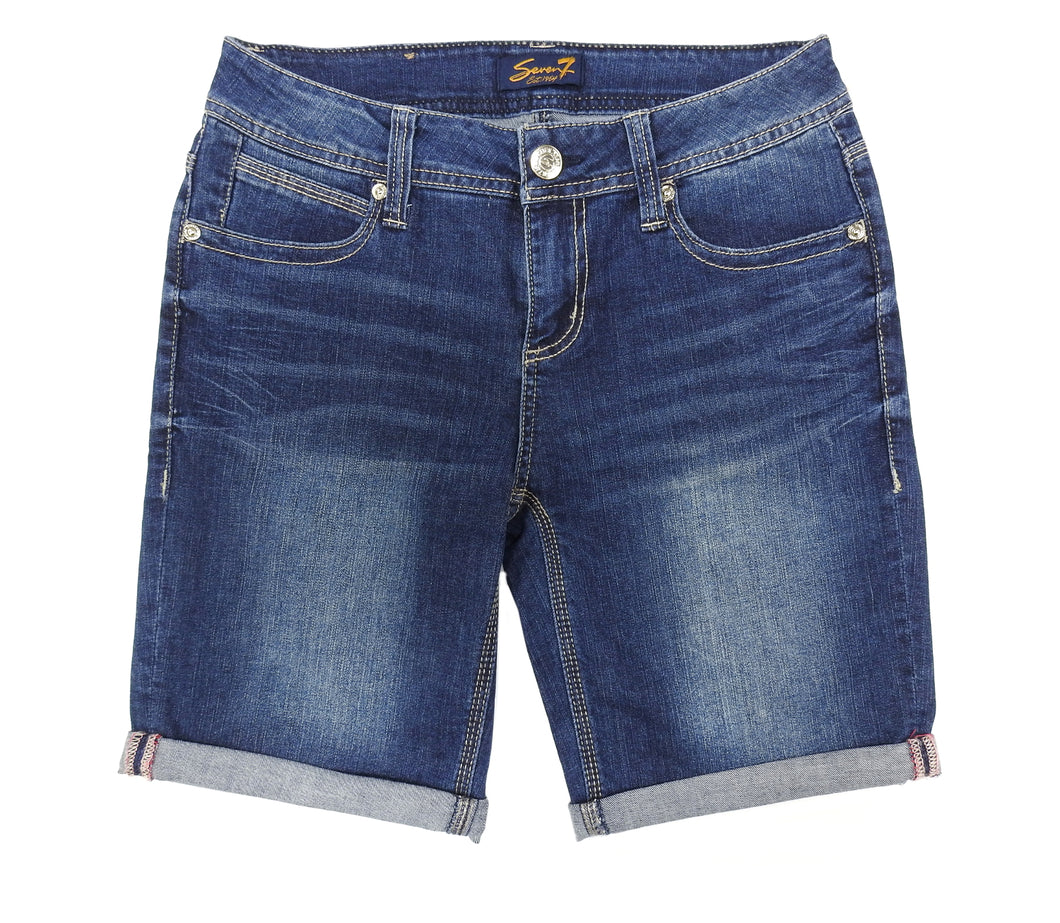 Seven Womens Rolled Cuff Shorts, Russel Blue