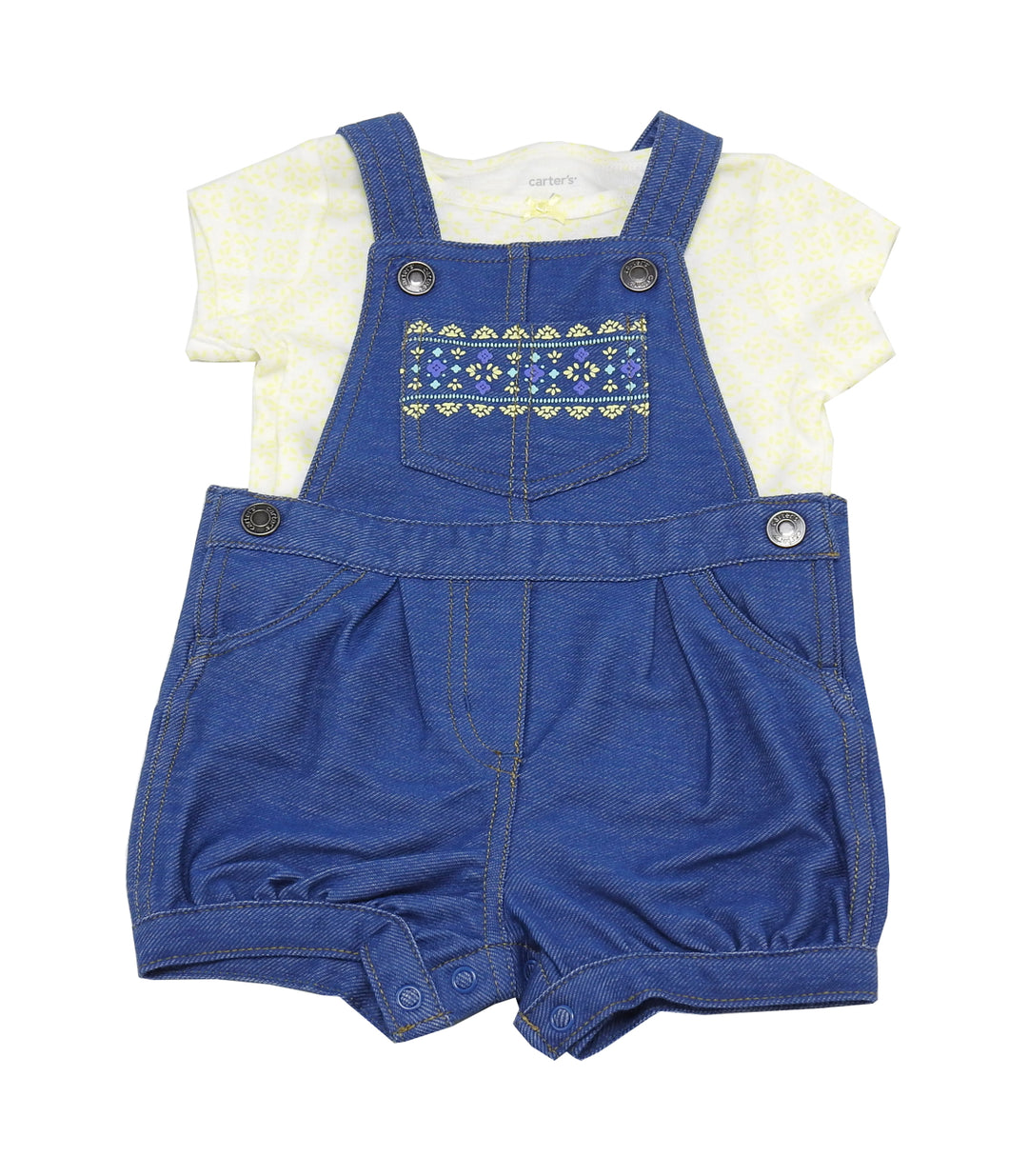 Carter's Baby Girl Size 6 Months 2-Piece Overall & Shirt Set, Denim/Yellow