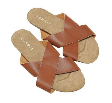 Esprit Womens Slip On Sandals, Brown
