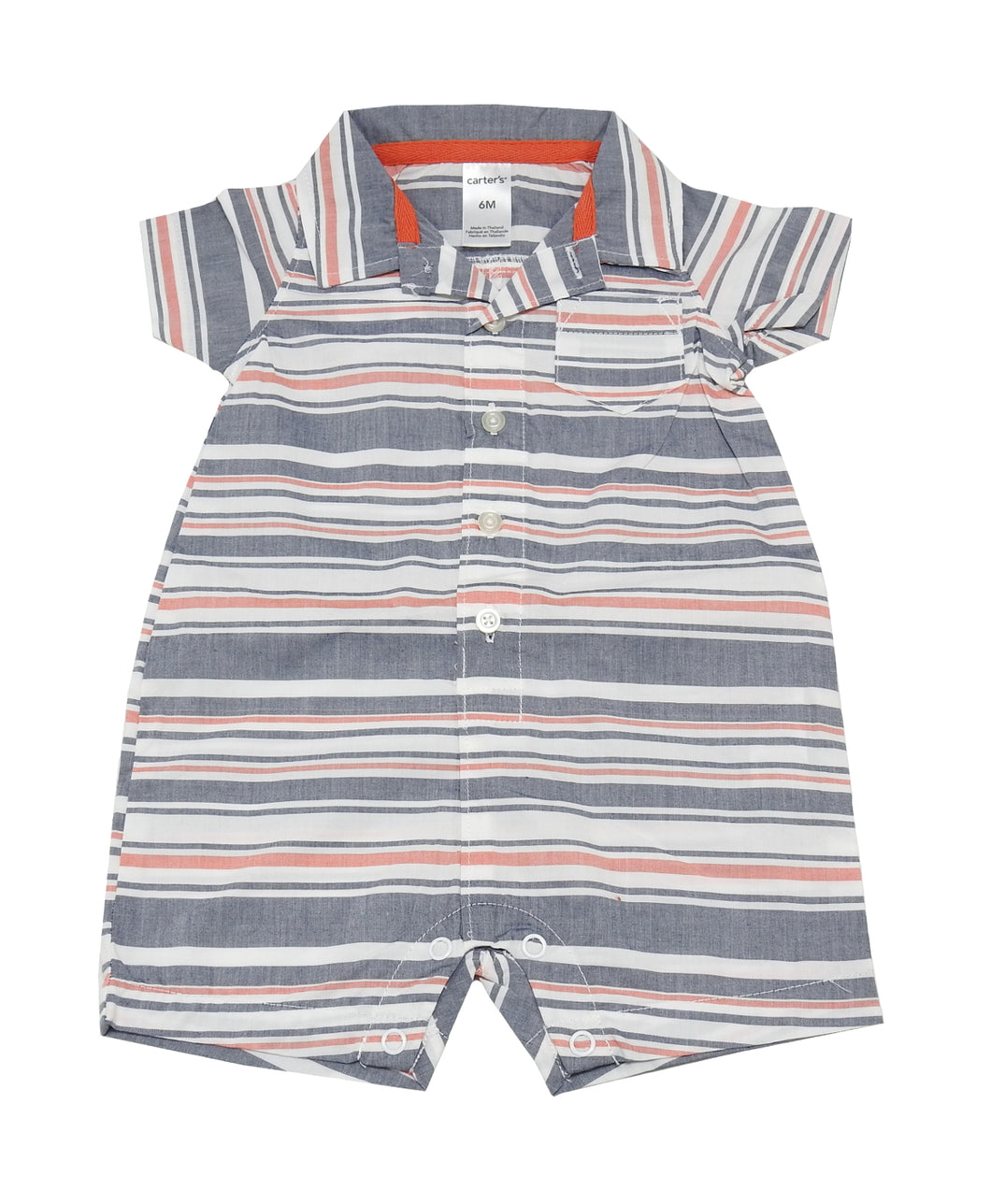 Carter's Baby Boy Size 6 Months Striped Short Sleeve Romper, Multi-Colored