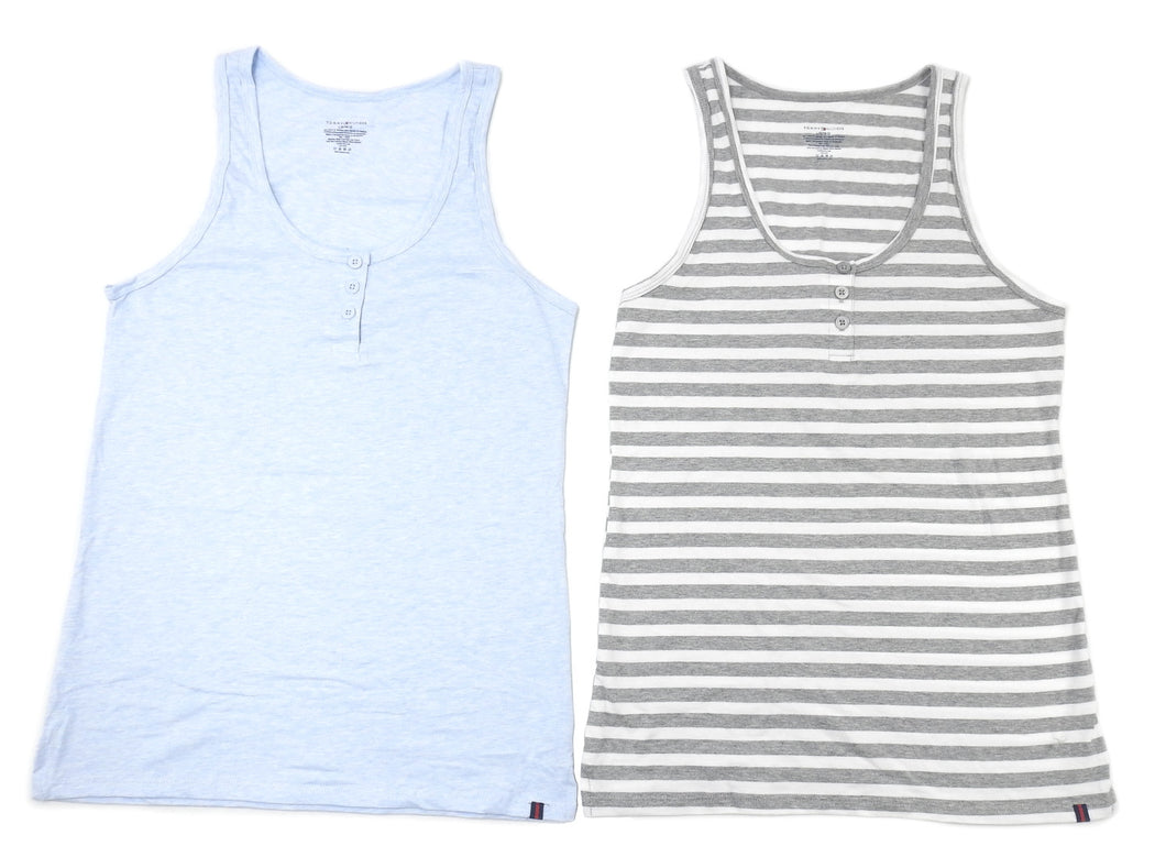 Tommy Hilfiger Womens Size Large 2 Pack Henley Tank Top, Heather Grey/Light Blue