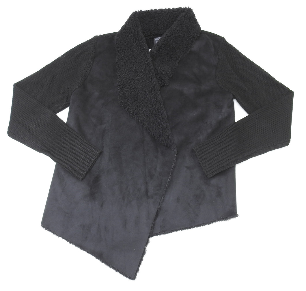 Chelsea & Theodore Womens Size X-Large L/S Draped Faux Fur Cardigan, Black
