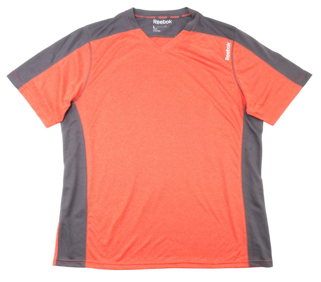 Reebok Mens Size Large PlayDry Short Sleeve V-Neck Sport Shirt