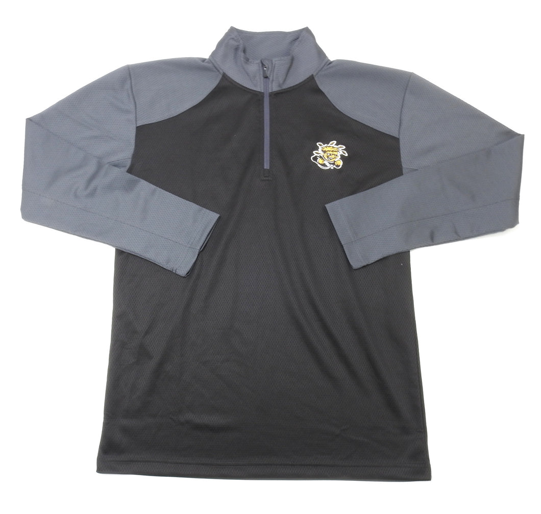 Knight Apparel Mens Large(42-44) 1/4 Zip Pullover Wichita State, Black/Grey