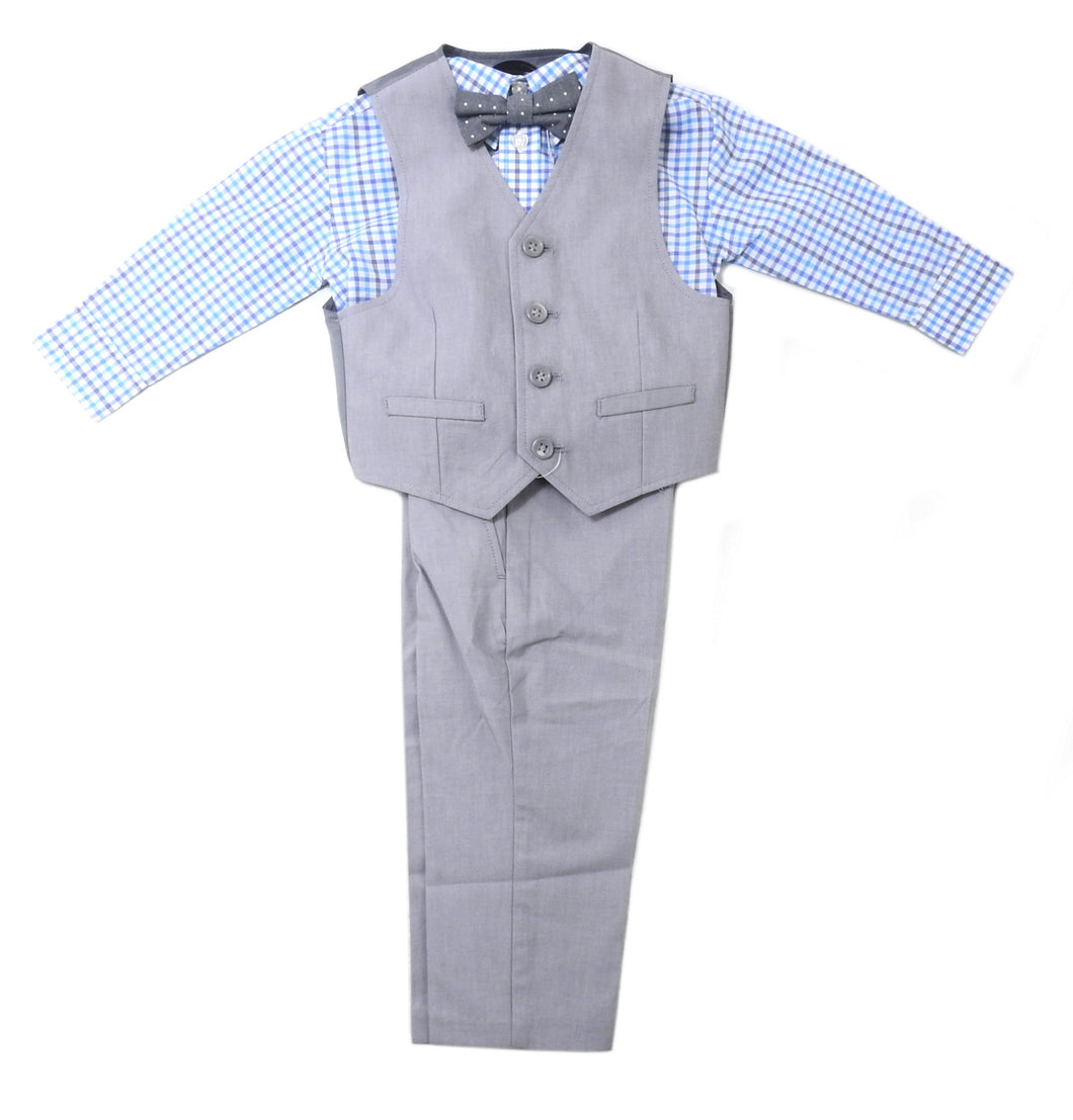 Kenneth Cole Reaction Boys 4-Piece Pants Suit Set, Grey/Blue Plaid