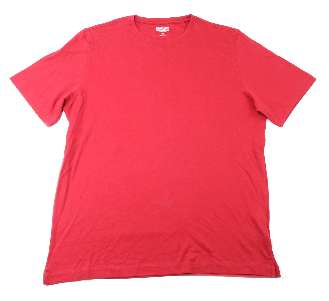 Kirkland Signature Mens Size Medium SS Pima Cotton Crew Neck Tee, Red