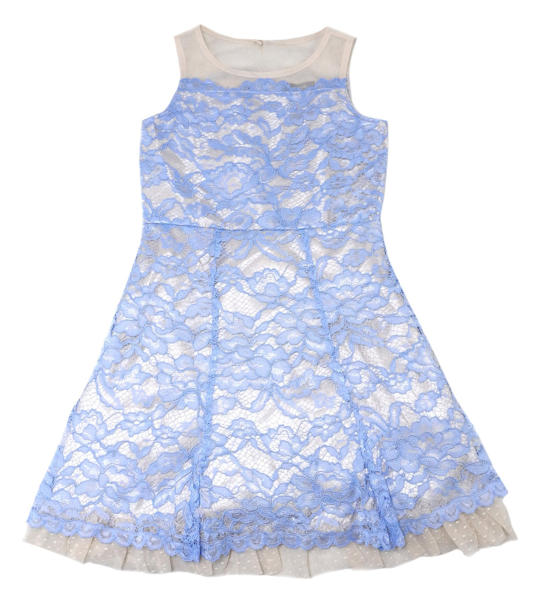Zunie Girl's Size 8 Special Occasion Dress, Light Blue/Beige