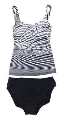 Essentials by Gottex Womens Size 8 Tankini 2-Piece Swim Suit, Black/White/Grey