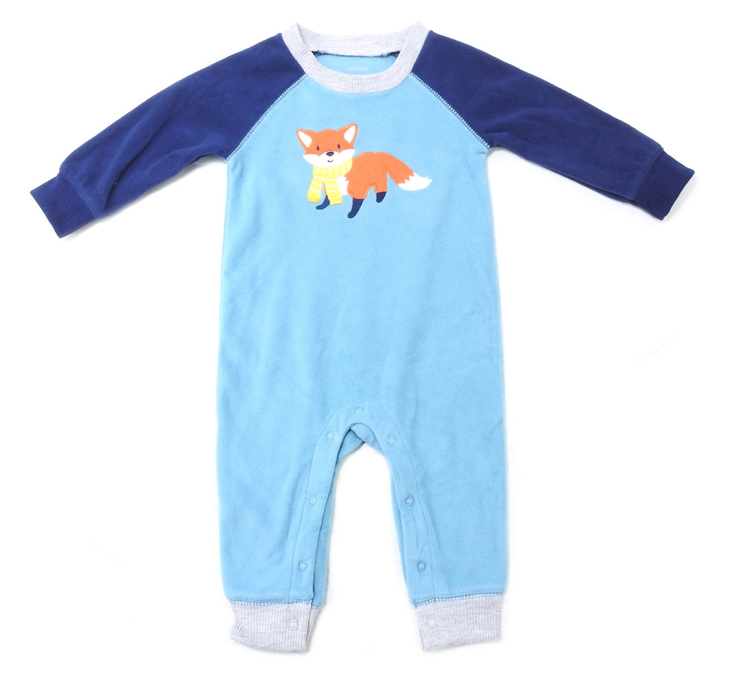 Carters Baby Boys Size 9 Months Long Sleeve Fleece Fox Outfit, Teal