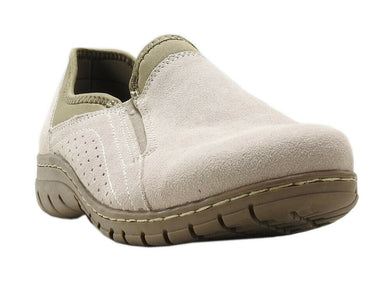 Eddie Bauer Womens Size 7 Suede Moch Leather Birch Bay Shoe, Rainy Day/Fossil