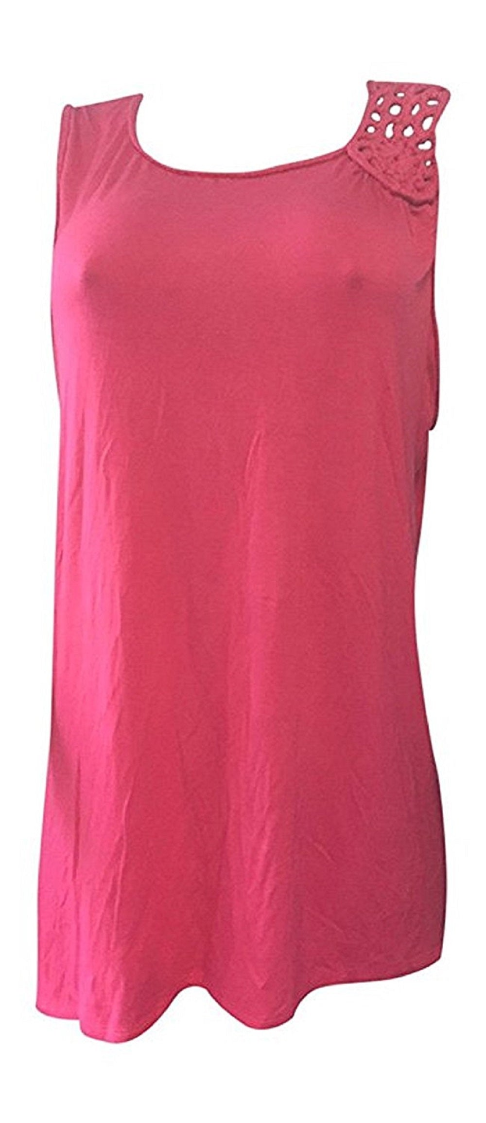 Premise Women's Tunic Top with Crochet Shoulder Trim, Pink Parfait