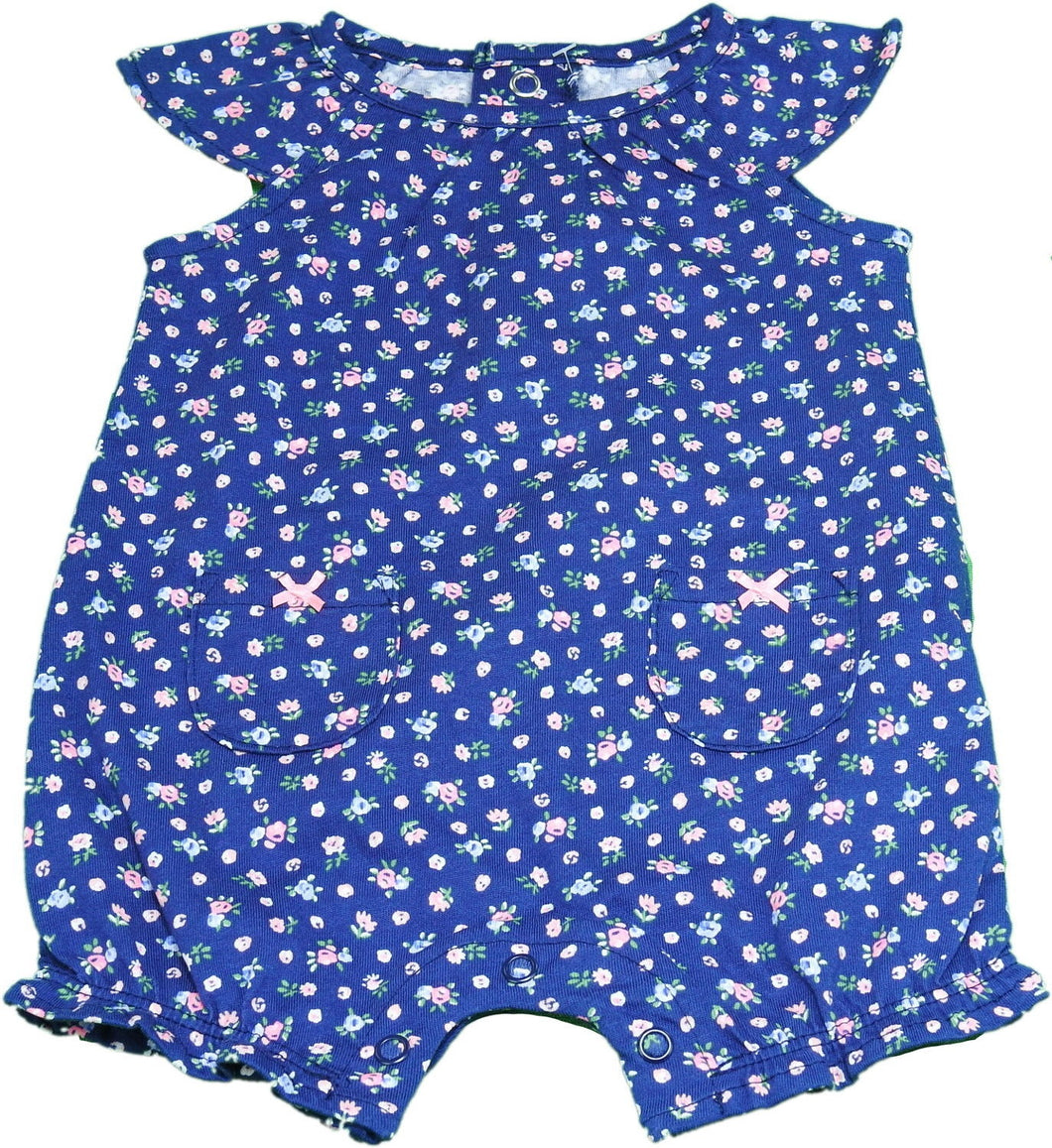 Carters Baby Girls Size 3 Months Floral Bodysuit, Blue/Pink