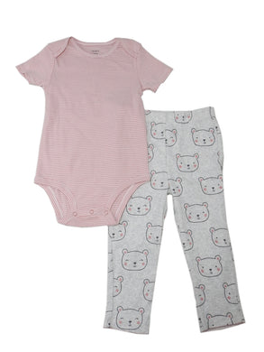 Carter's Baby Girls Size 24 Months S/S Bodysuit & Bear Pant 2-Piece Set, Grey