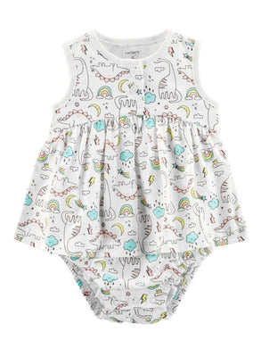Carter's Baby Girls Size 18 Months Sleeveless Dinosaur Print Sunsuit, Dino White