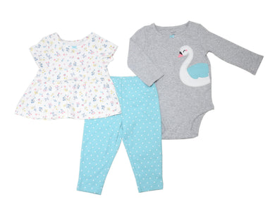Carters Baby Girls Size 9 Months Bodysuit/Top/Pant 3-Piece Set, Swan/Floral/Grey