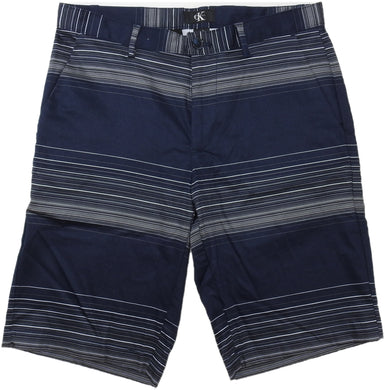 Calvin Klein Mens Size 30 Flat Front Striped Shorts, Navy Blue/Grey