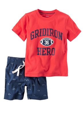 Carters Baby Boy 2-Piece Gridiron Hero Football T-Shirt & Short Set, Red/Navy