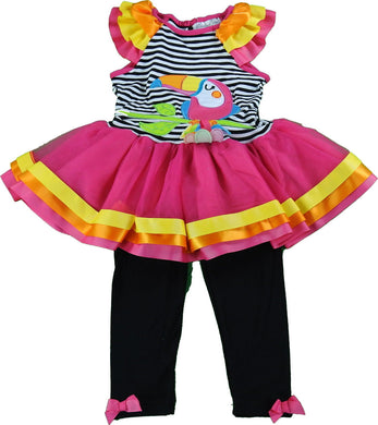 Emily Rose Girls Sleeveless Tutu Dress & Legging 2-Piece Set, Black Toucan Bird