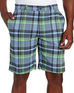 PGA Tour Mens Size 32 Active Waistband Stretch Motionflux Plaid Shorts, Asphalt