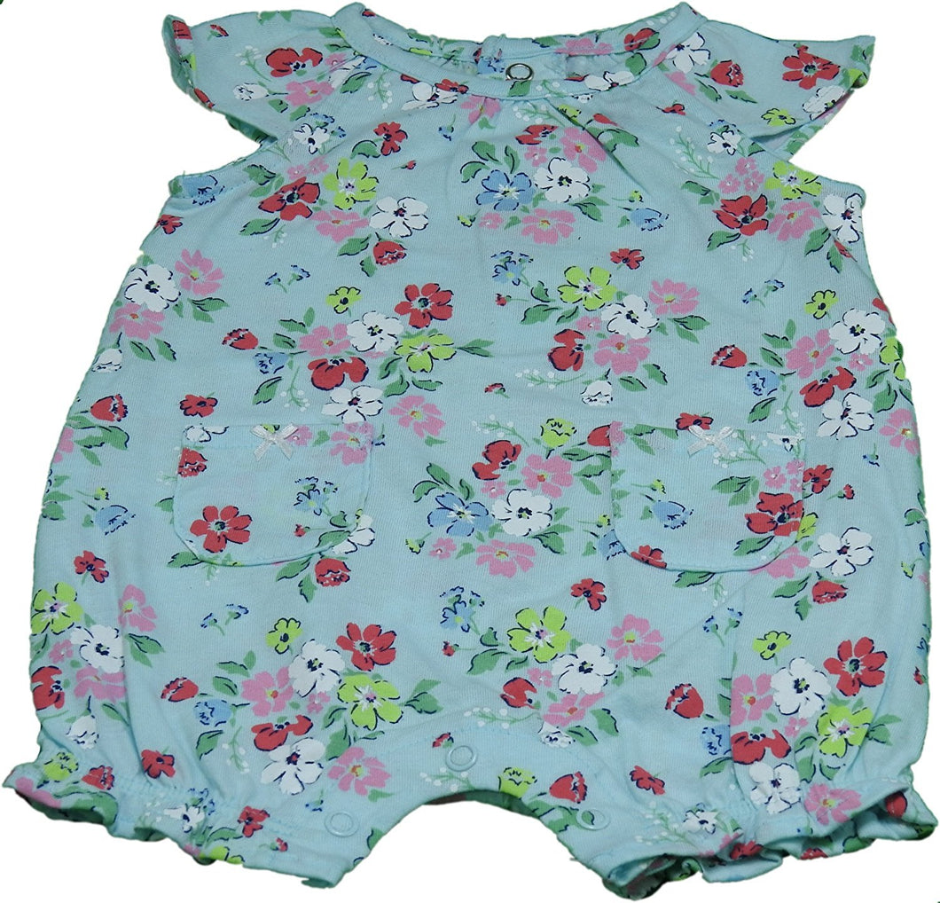 Carters Baby Girls Size 3 Months Floral Bodysuit, Teal/Multi-Floral