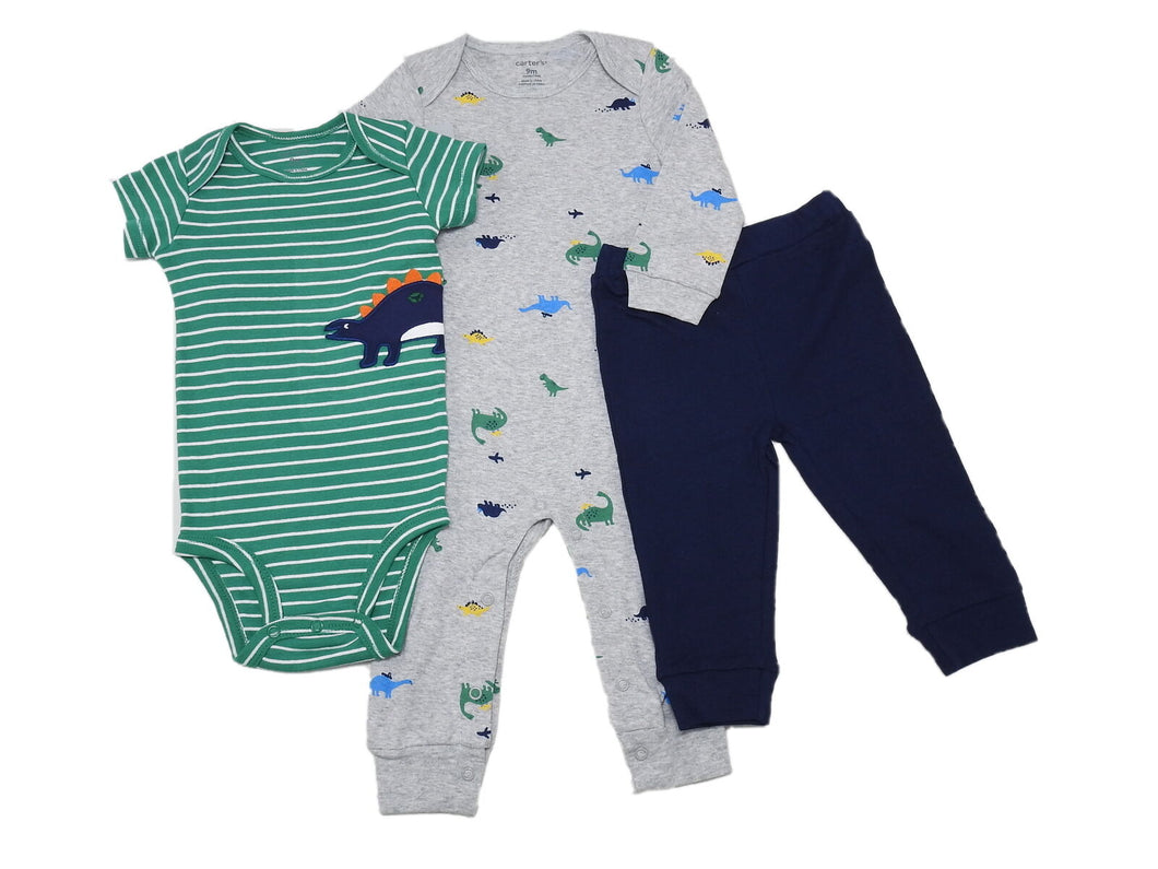 Carter's Baby Boys Bodysuit/Romper/Pant Dinosaur 3-Piece Set, Grey/Green/Navy
