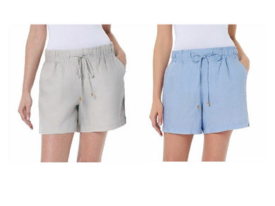(2-Pack) Ellen Tracy Womens Drawstring Waist Linen Shorts, Chambray + Sandstone