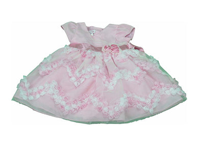 Jessica Ann Baby Girls Size 12 Months Special Occasion Floral Dress w/Sash, Pink