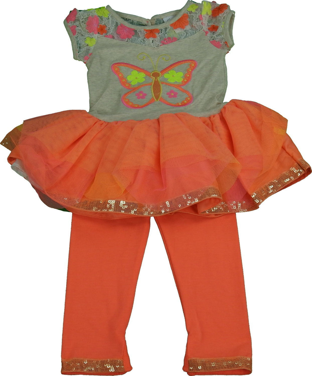 Emily Rose Girls Tutu Dress Top & Legging 2-Piece Set, Oatmeal Butterfly