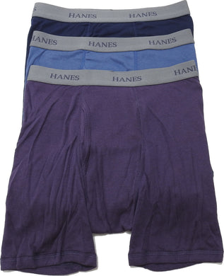 Hanes 3-Pack Mens Size Small Tagless Boxer Briefs, Blue/Purple