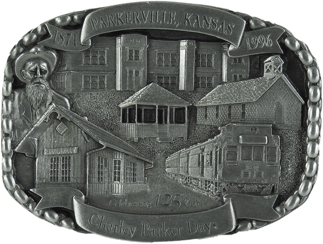 Charley Parker Day 1871-1996 Celebrating 125 Years Novelty Belt Buckle