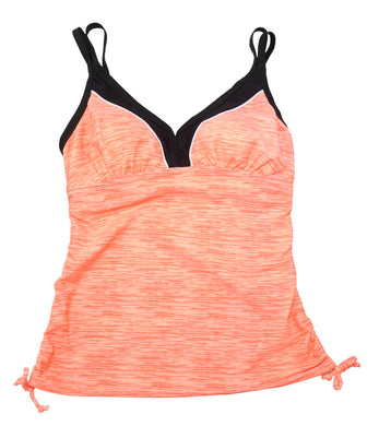 Gerry Womens Size Small V-Neck Colorblock Tankini 1-Piece Swim Top, Sherbert