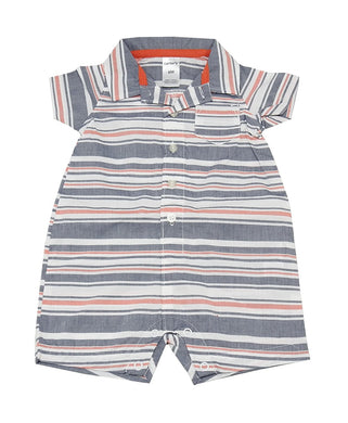 Carter's Baby Boy 18 Months Striped Short Sleeve Romper, Multi-Colored