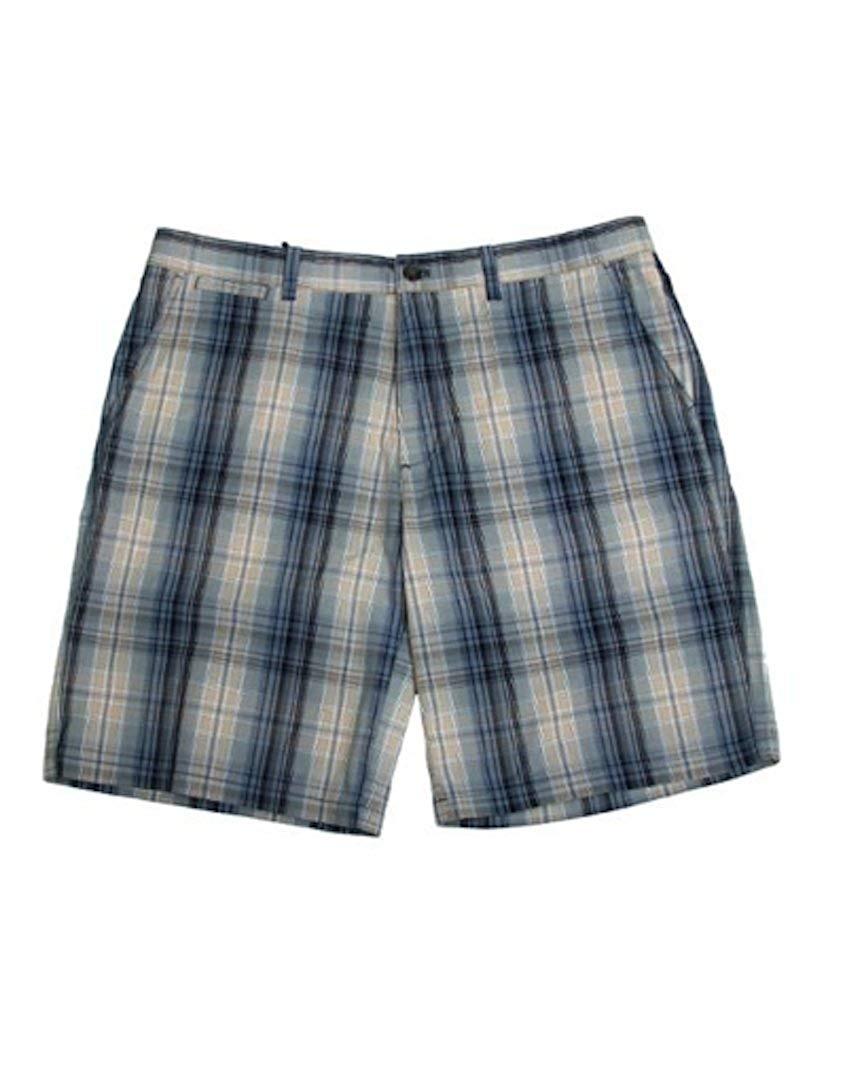 Weatherproof Mens Size 38 Plaid Flat Front Shorts, Blue/Multi