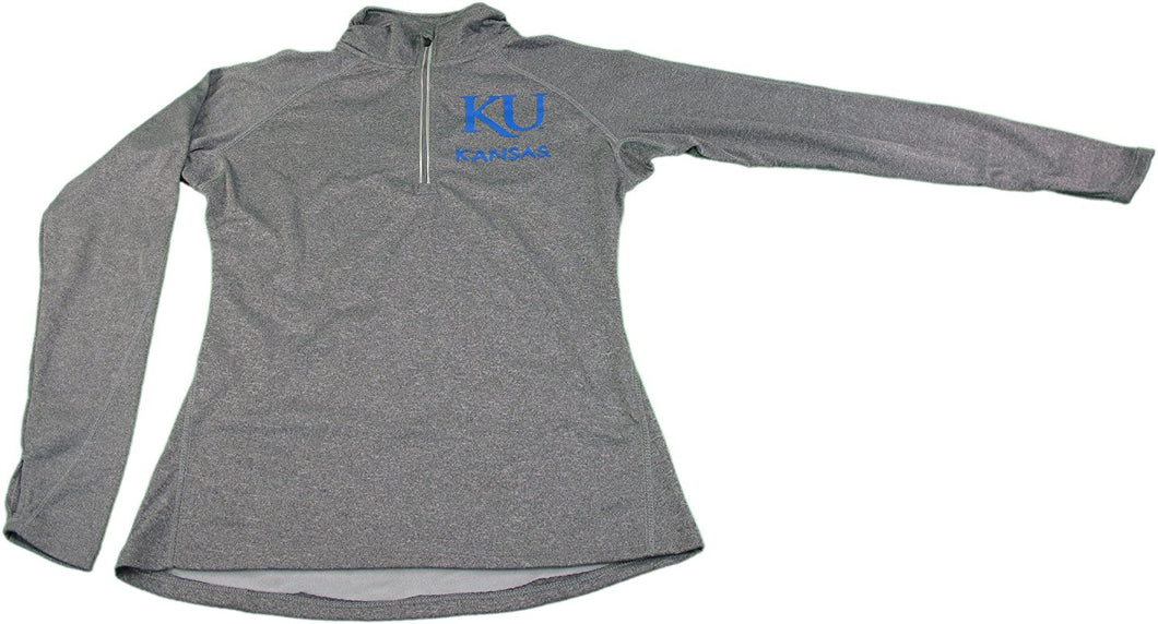 Knights Apparel Womens Kansas State Univ. 1/4 Zip Pullover, Grey