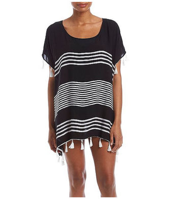Chelsea & Theodore Womens Size Large Beach Cover Up, Black/White/White