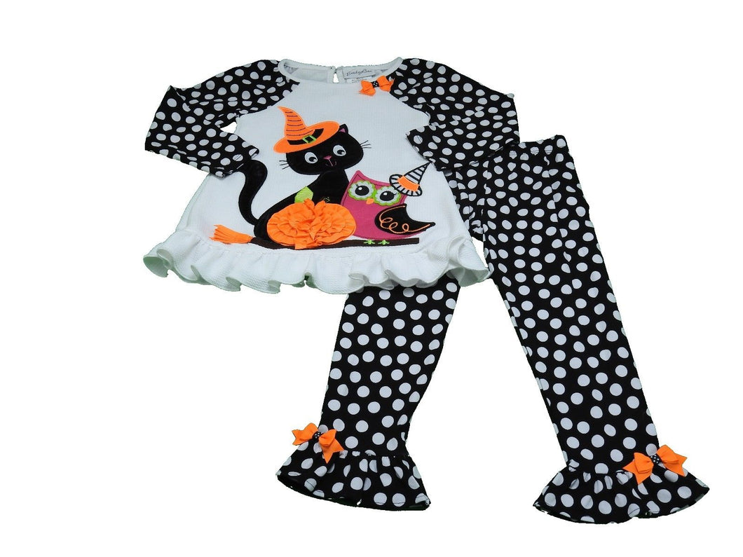 Emily Rose Girls 2-Piece Halloween Shirt & Pants Set, White/Multi-Color Cat/Owl