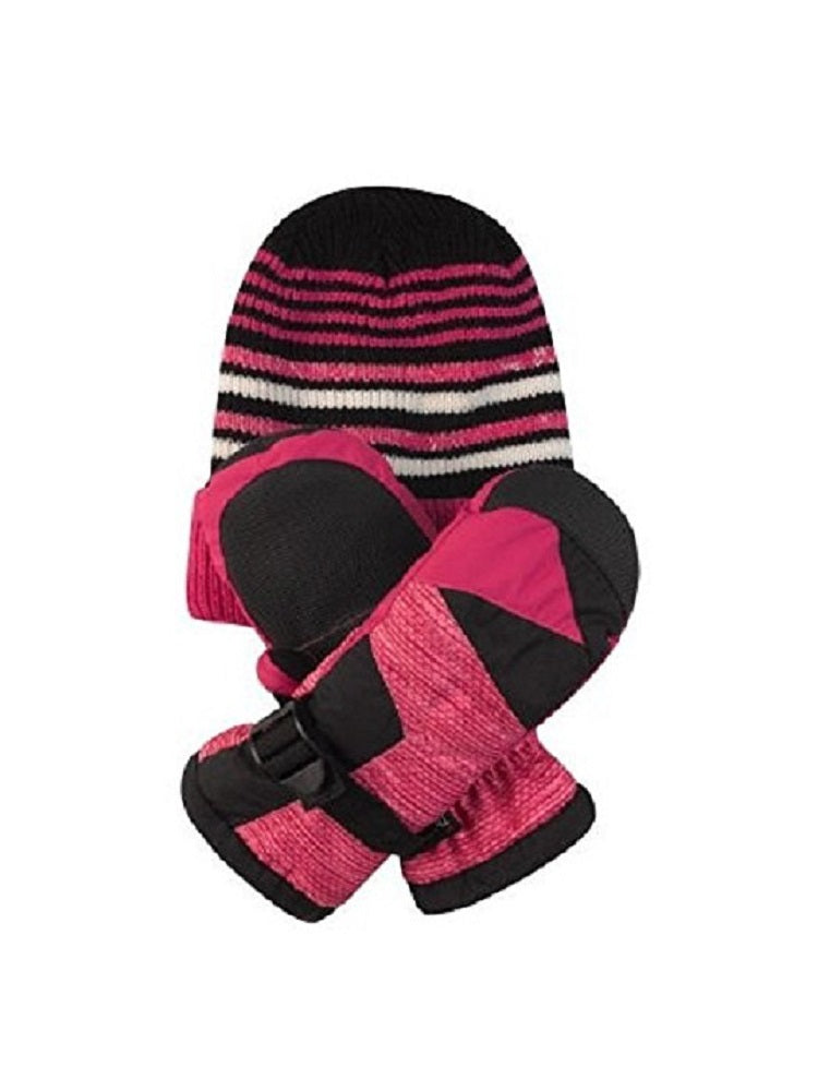 Free Country Girls Cold Weather Hat & Mitten Set, Rose