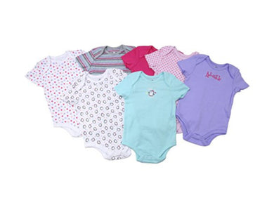 Members Mark Baby Girls 6-9 Months 7-Pack 1-Piece Bodysuit, Multi-Color/Penguin