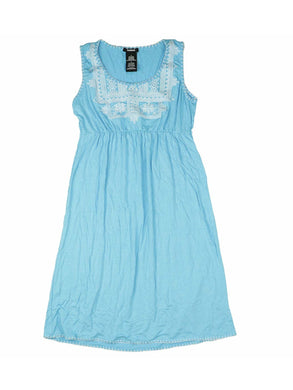 Premise Womens Size Small Embroidered Soft Rayon Sleeveless Dress, Blue Surf