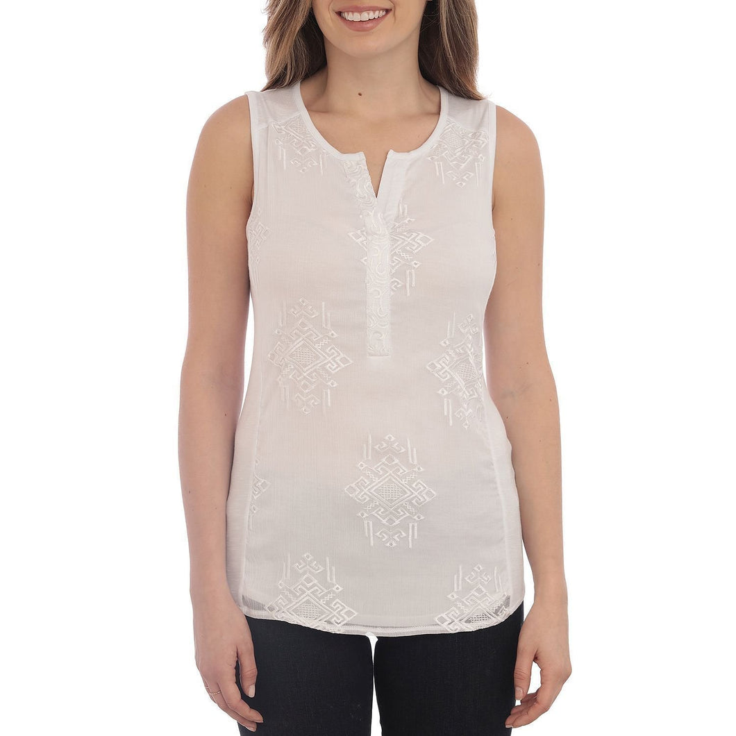 RXB Women's Size Small Sleeveless Sheer Knit Top, Bright White