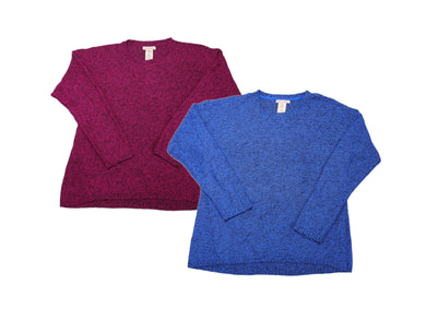 (2-Pack) Philosophy Womens Size XX-Large L/S Pullover Sweater, Denim/Magenta