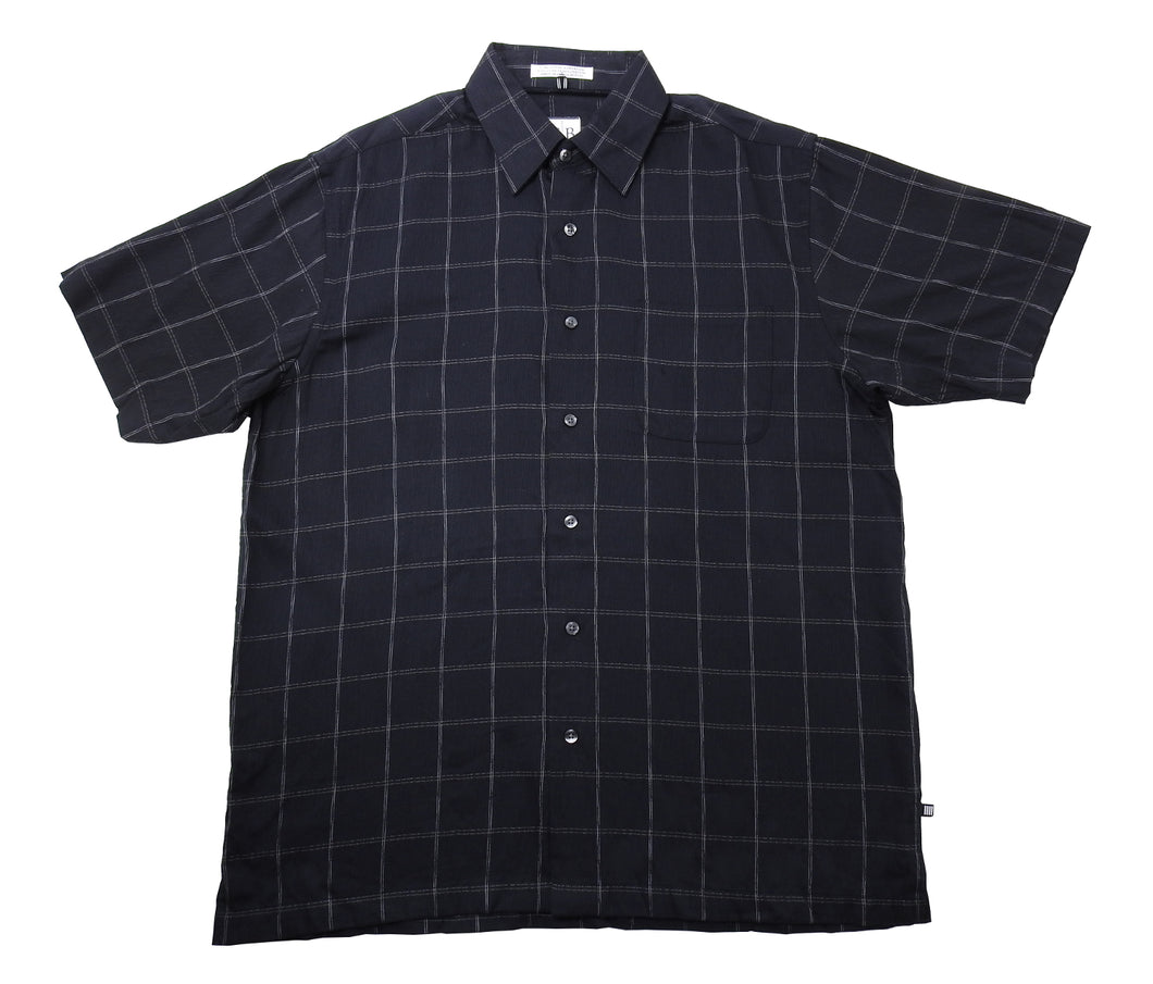Geoffrey Beene Mens Size Medium Short Sleeve Button Down Shirt, Black Plaid